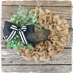 Burlap Spring Wreath $55