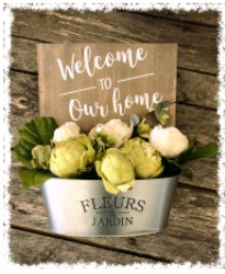 Welcome Flower Bucket $45