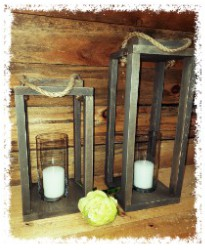 Set of Two Wood Lanterns $45
