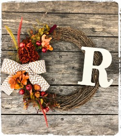 "Seasonal Initial Grapevine Wreath with Wood Initial 18"" $50"