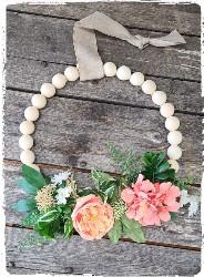 Wood Bead Wreath $55.00