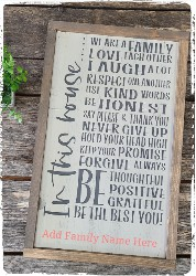 In this House/In this Family Sign (framed)$52.00