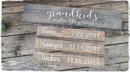 Grandparent Sign with Name Plates- $65.00