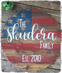 Large Round American Flag with Family Name- $58.00