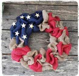 Patriotic Burlap Wreath- $48.00