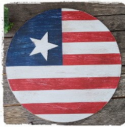 Large Round Vintage Flag with Wood Star- $58.00