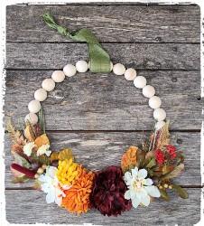 Fall Wood Bead Wreath $55.00