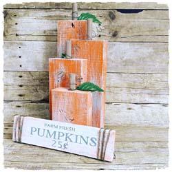Wood Pumpkins and Fall Sign $48