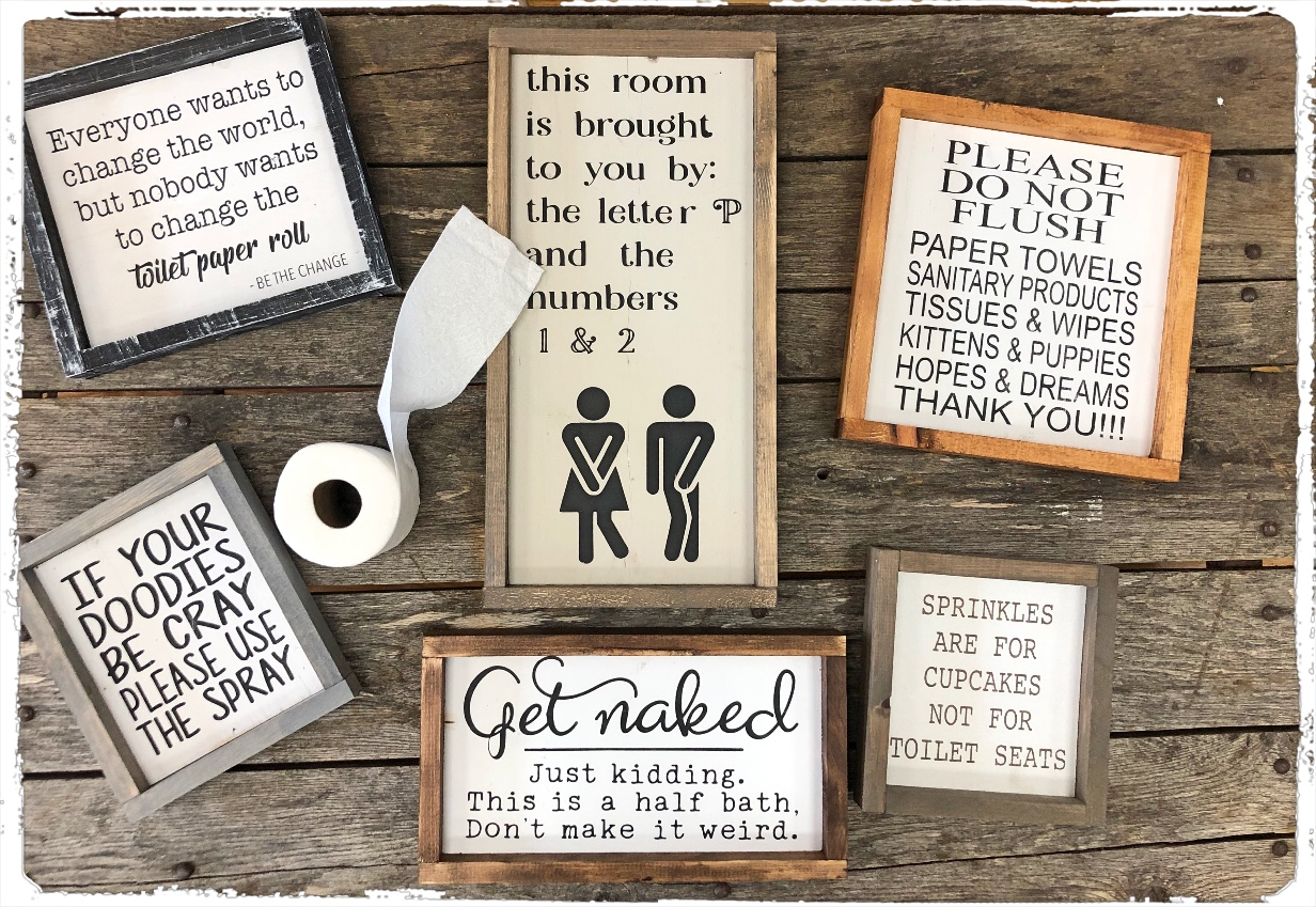 BATHROOM SIGNS - The Crafty Nest DIY